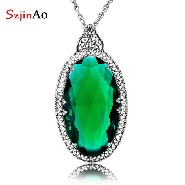 Szjinao Undertale Jewelry Russian 15.7ct Oval Stone Emerald 925 Sterling Silver Pendant Punk Fashion Jewelry For Women