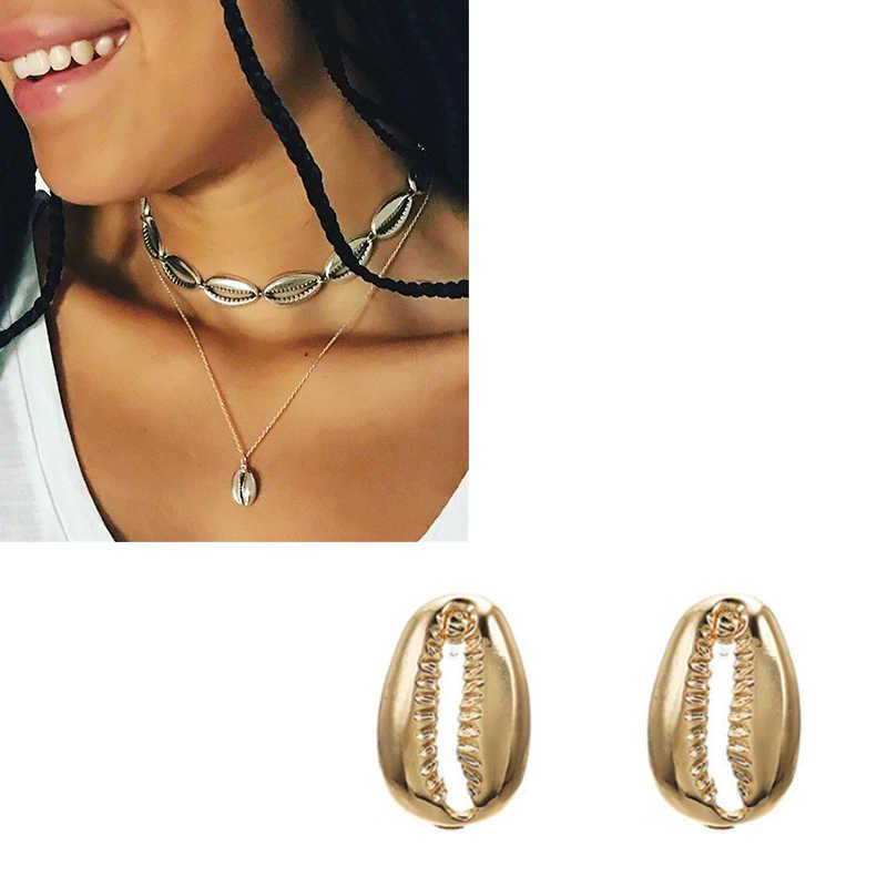 Neue Mode Kristall Perle Shell Schmuck Sets Für Frauen 2019 shell Ohrringe Halsketten Erklärung Shell Schmuck NE + EA