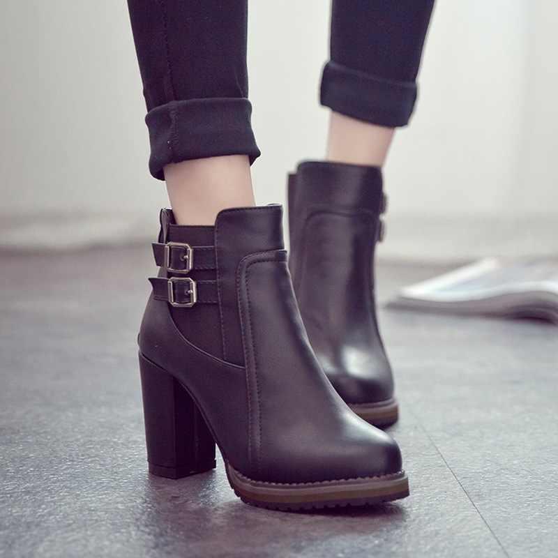2018 neue Frauen Stiefel Herbst Winter Kurze Stiefel Frauen High Heel Schuhe neue Stiefel Frauen Stiefeletten Schwarz Frauen Schuhe