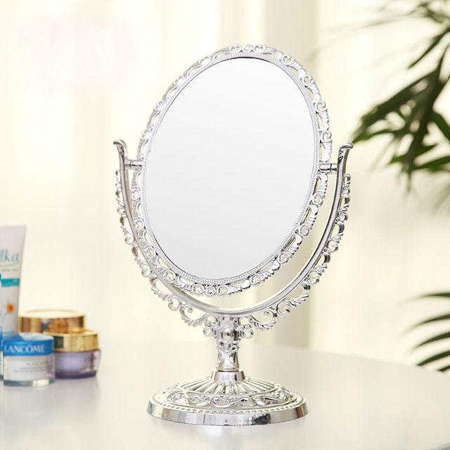 Hogar pequeño espejo de Doble Cara espejo de maquillaje compacto espejo cosmético de la señora cómoda mesa de escritorio Plástico cromado espelho