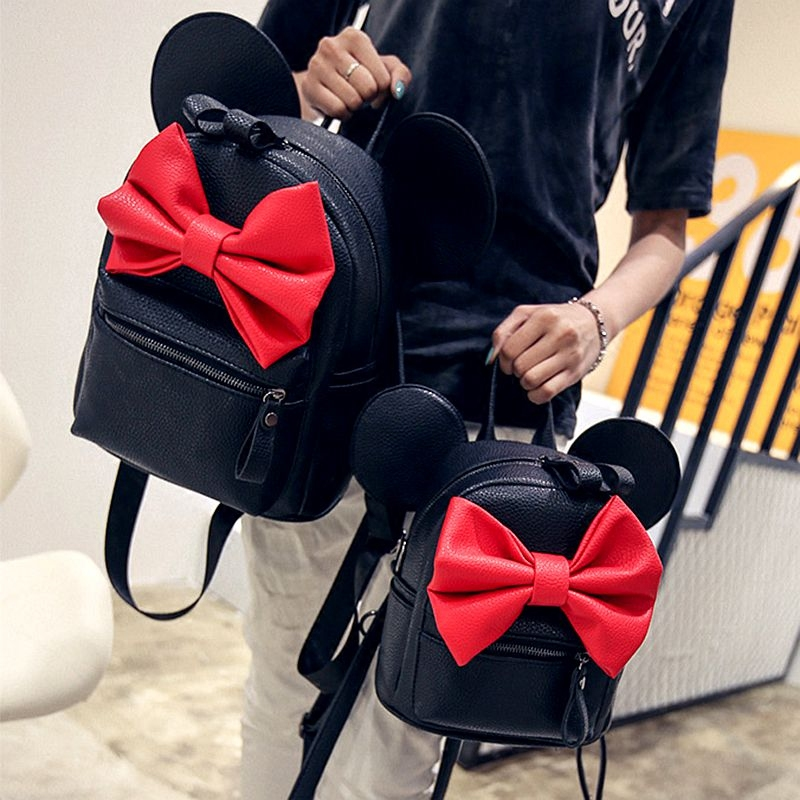 цены  2017 new fashion sweet Mickey ears large shoulder bag quality pu leather women bag Big bow bag Korean female bag large capacity