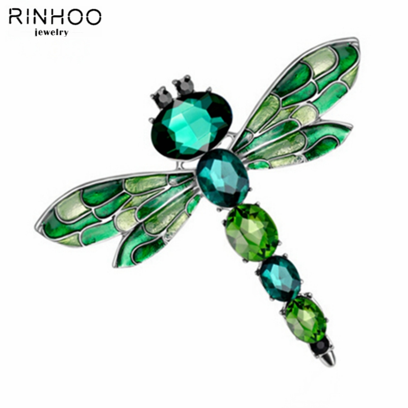 Vintage 3 Colors Crystal Rhinestone Dragonfly Brooches for Women Brooch pins Costume Jewelry Accessories party Gift