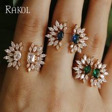PAKOL Luxury Blue Crystal Stone Flower Gold Color Fashion We