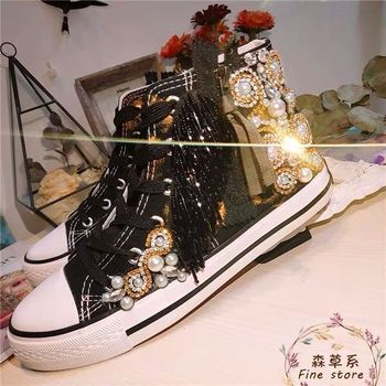 Autumn 2019 New European Station High-Up Sequined Water Drill Canvas Shoes with Ribbons Inside Women's Sports Shoes