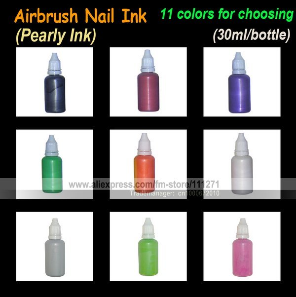 5pcs - Airbrush Nail Ink (Pearly Ink) / Oil - for Nail Art / beauty / Polishing -30ml/pc -11 colors for choosing -Free Shipping