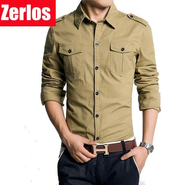577ee7e752bb5 Estilo Militar dos homens homem Dragona bolso duplo camisa de manga  comprida blusa 100% algodão