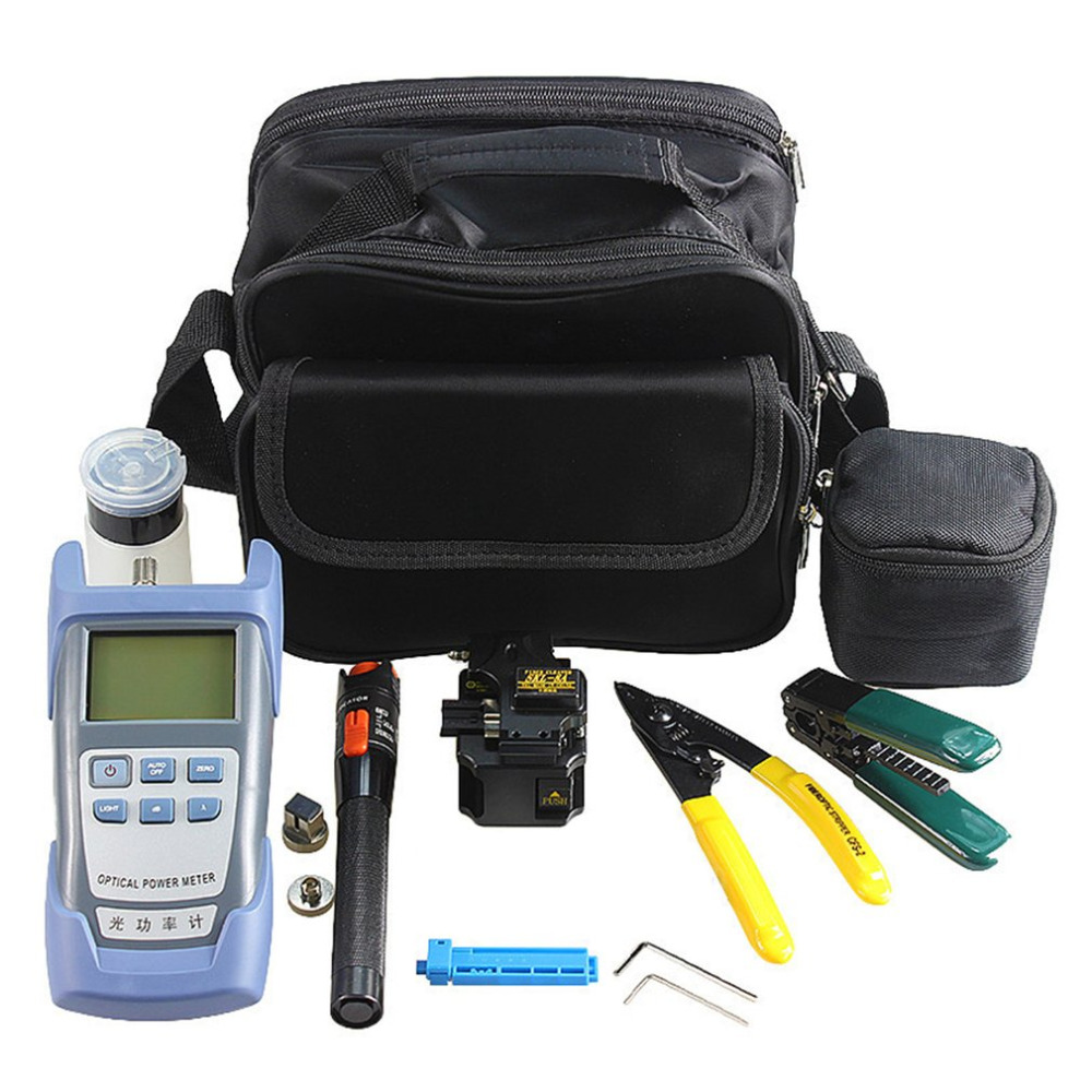 Fiber Optic FTTH Tool Kit with SKL-8A Fiber Cleaver and Optical Power Meter 10km Visual Fault Locator Wire Stripper