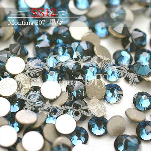 SS12 3.0-3.2mm Montana Blue 1440pcs/bag Non HotFix FlatBack Rhinestones,Glass Glitter Glue-on Loose DIY Nail Art Crystals Stones ss12 3 2mm aqua marine nail rhinestones 1440pcs bag non hotfix flatback crystals glass strass glitters for nail art glue stone