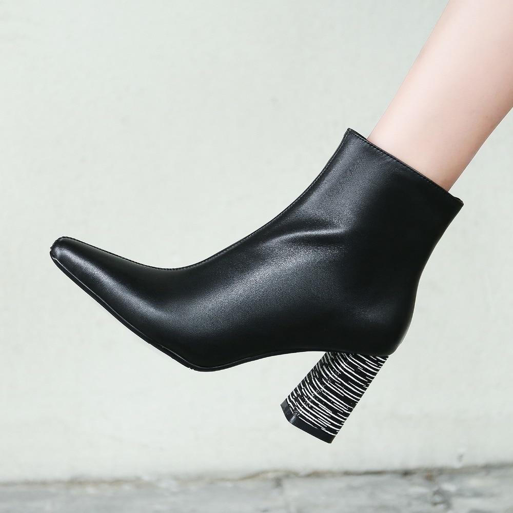Bottines En Cuir 2019 Femmes Bureau Véritable Grande Talons Taille De Matures Épais 43 Noir Pointu Mode Dames Bout Zipper Black Chaussures qaw6FxfO