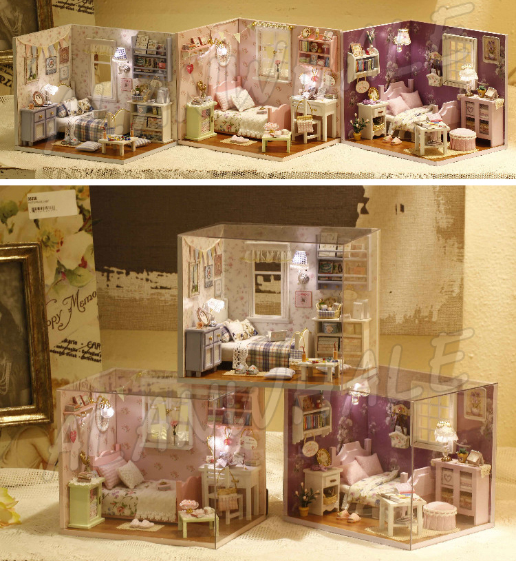 Miniature Doll House Living Room DIY LED Light Wooden Dollhouse With Furnitures Gifts Sets Adult Teenager Toys Model Building