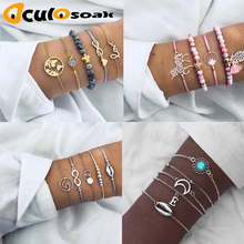 Vintage Turtle Heart Map Charm Bracelets Set For Women Stone Beads Infinite Strand & Bangles Boho Fashion Jewelry