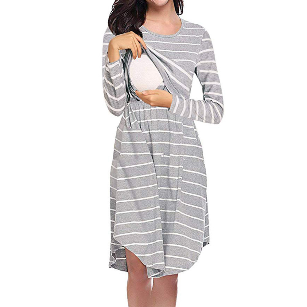Cotton Long Sleeve Breastfeeding Pajama Striped Midi Pajamas For Pregnant Nightgowns Maternity Nightie Embarazo Dropshipping 2