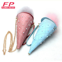 2016 Summer New Women Bags Ice Cream Cone Handbags Fashion Hair Ball Chain Small Leather Shoulder