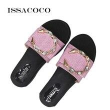 ISSACOCO Letters Buckle Women's Slippers Beach Slippers Bling Beach Slides Sandals Casual Shoes Slip On Slipper Home slippers цена