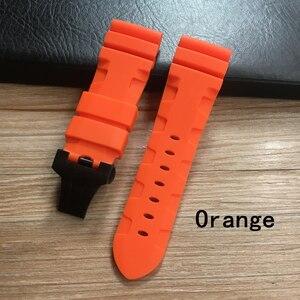 Image 4 - Whatchband Correa de silicona para reloj, correa de reloj negra, azul o naranja, roja, gris y verde de 24 y 26mm, con hebilla de mariposa y grabado