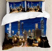 Duvet Cover Set, Image of Atlanta Skyline Twilight with Highway Buildings Skyscrapers Blurred Motion, 4 Piece Bedding Set