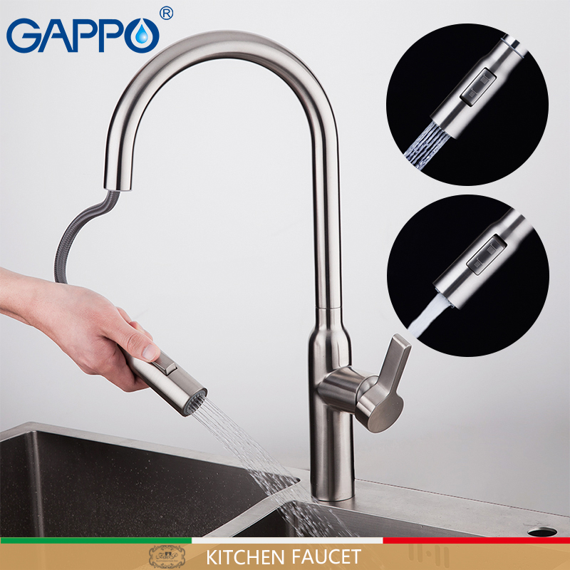 GAPPO pull out kitchen faucet water mixer crane stainless steel kitchen faucet tap mixer kitchen bathroom