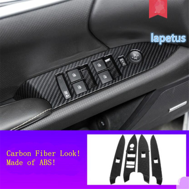 Lapetus Inner Door Armrest Window Lift Button Decoration Frame Cover Trim ABS Fit For Cadillac XTS 2015 - 2019 Carbon Fiber Look