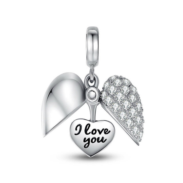 1205e2180 Bling Crystal I Love You Charm Fit Pandora Charm Bead Open Heart-in ...
