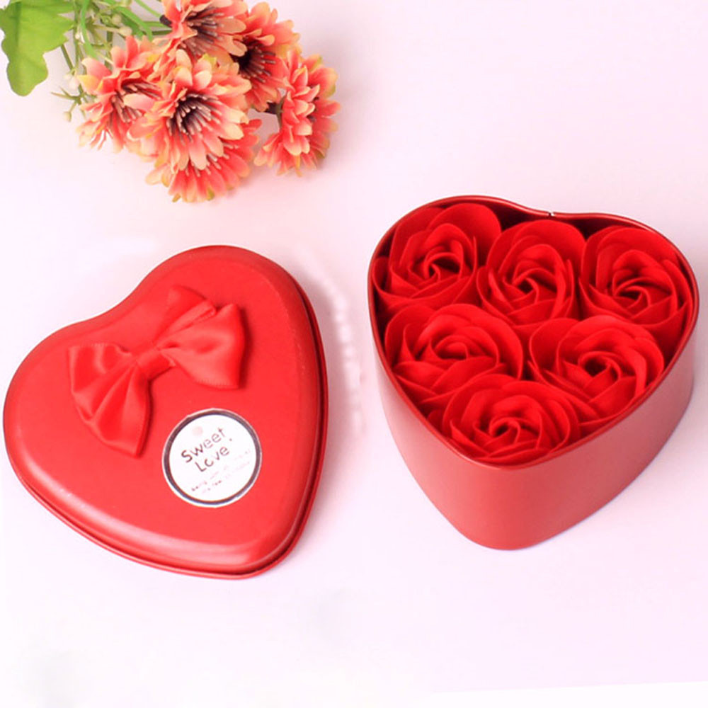 Practical 6Pcs Heart Scented Bath Body Petal Rose Flower Soap Wedding Decoration Gift favor gifts for luxurious bath(China)