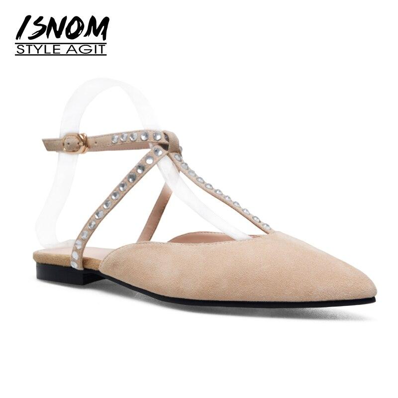 ISNOM толщиной 2018 низком каблуке сандалии женские детские замшевые указал носок Кристалл обувь новая летняя мода платье женские T ремень обувь