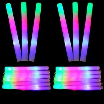 12Pcs / Set LED Foam Glow Sticks Multi Color LED Foam Stick Light Up Wands Cheer Batons Rally Rave Kids Party фото