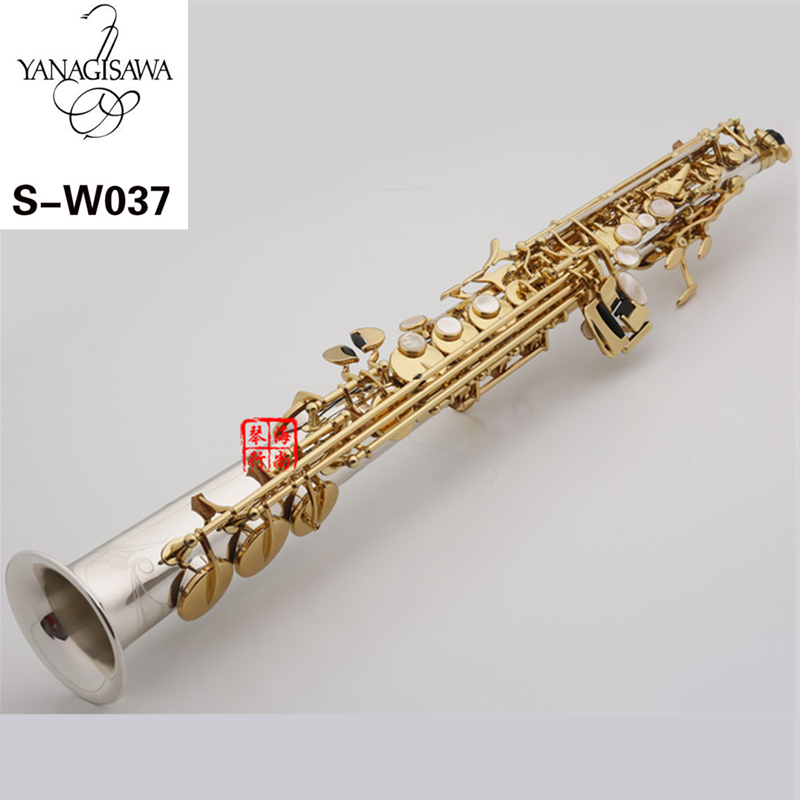 New Arrival Saxophone YANAGISAWA W037 Soprano B(B) Brass Silver Plated Gold Key B Flat Sax With Mouthpiece Case Free Shipping