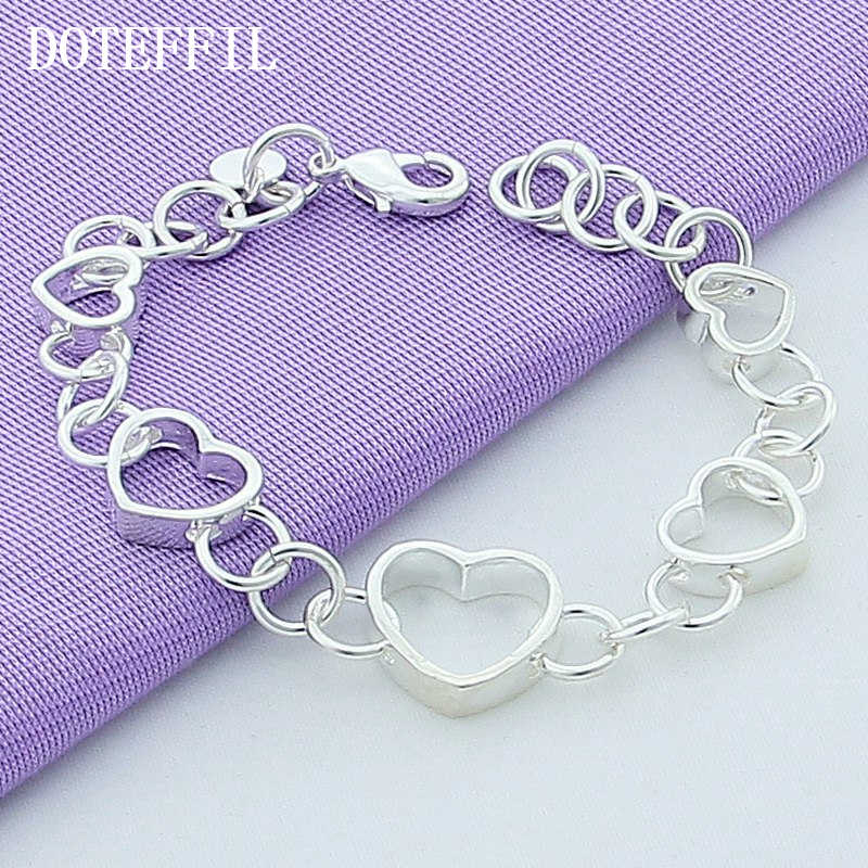New Luxury Pure 925 Sterling Silver Bracelets Female Heart-Shaped Bracelet Plated Silver Bracelet Fashion Jewelry Free Shipping