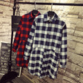 Mulheres casuais Camisas Xadrez Plus Size 3XL 4XL 5XL Colarinho Turn-down Solto Bolsos Longa Blusa Camisa Azul Vermelho QYL67