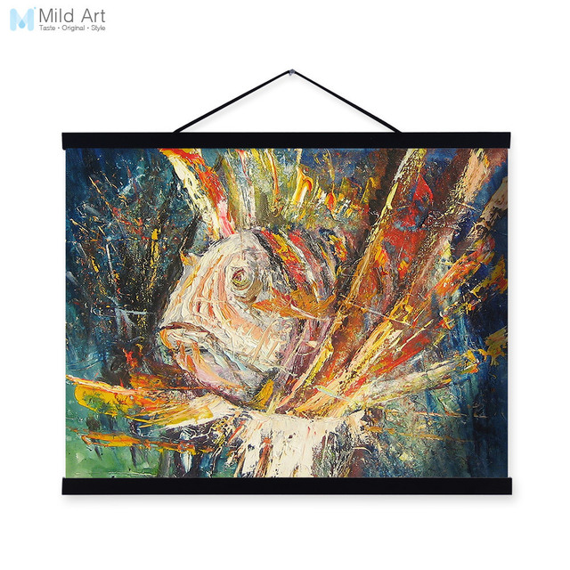 Kunstdruck Leinwand fisch moderne impressionismus bunten holz gerahmte leinwand