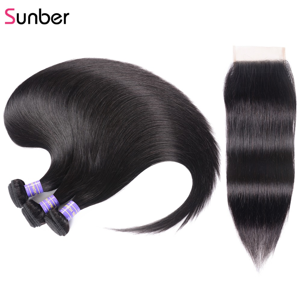 Sunber Straight Bundles With Closure Brazilian Hair Bundles With Closure Human Remy Hair Bundles With Closure