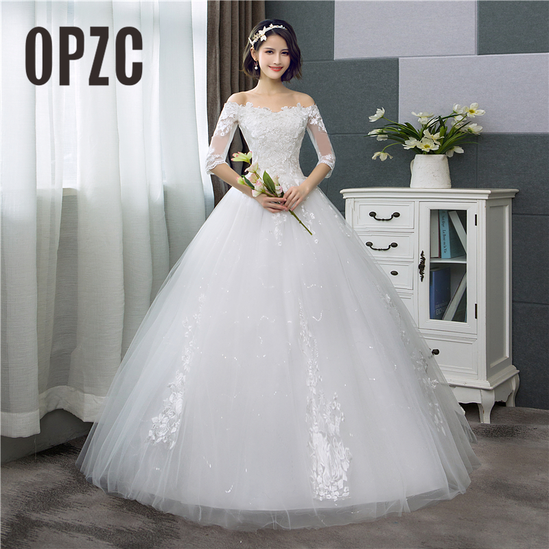 Korean Style Lace Half Sleeve Floral Print Ball Gown Wedding Dress 2018 New Fashion Embroidery Sweetheart