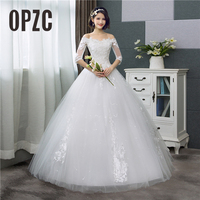 Korean Style Lace Half Sleeve Floral Print Ball Gown Wedding Dress 2020 New Fashion Embroidery Sweetheart estidos de noivas