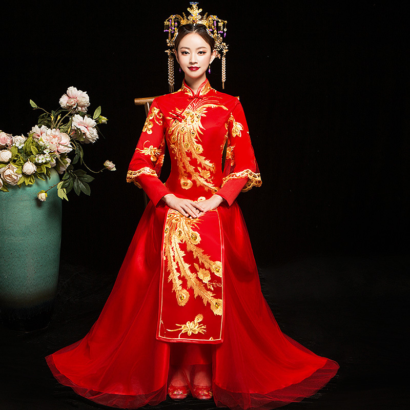 cced96f79 Oriental Wedding Gowns Red Cheongsam Sexy Qipao Long Traditional Chinese  Dresses Vestidos Chines Chino Tradicional