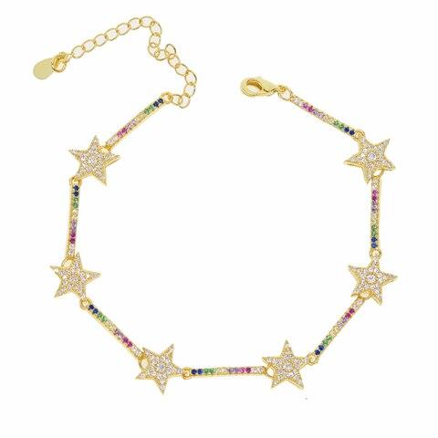 Pulseiras para Menina de Sorte Sparking Estrela Pulseira Mulher Qualidade Superior Pave Multi Cor Arco-íris cz Ouro Delicado Jóias