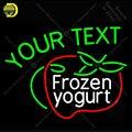 Неоновая вывеска для замороженного йогурта стеклянная трубка ваш текстовый магазин дисплей ручной работы Ресторан световые вывески лампы ...