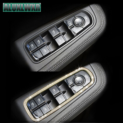 Car window lifter decorative sequins crystal trim special modified fit for Porsche macan S turbo cayenne Panamera S car-styling