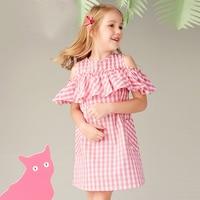 Клетчатое платье для девочек, детское платье, летнее платье, тонкое простое платье принцессы с открытыми плечами