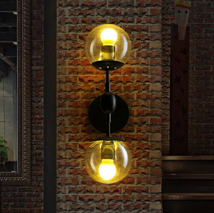 American Country Creative Loft Style Iron Wall Light Vintage Coffee Shop Dining Room Decoration Glass Wall Lamp Free Shipping