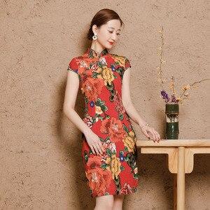 Image 3 - Chiny sukienki Qipao Cheongsam bawełniana pościel Mujer Vestidos Plus rozmiar dla kobiet krótki 3XL 4XL 5XL lato nowy nabytek