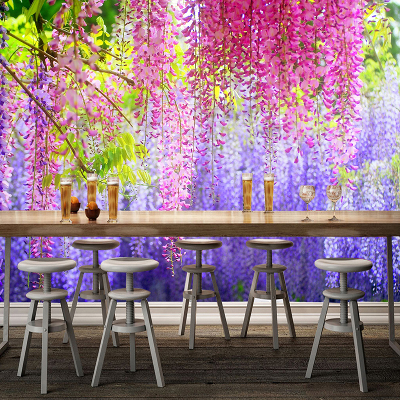 Custom Photo Wall Paper Colorful Wisteria Flowers Leaves Painting Mural Living Room Restaurant Interior Decor Wallpapers In From Home