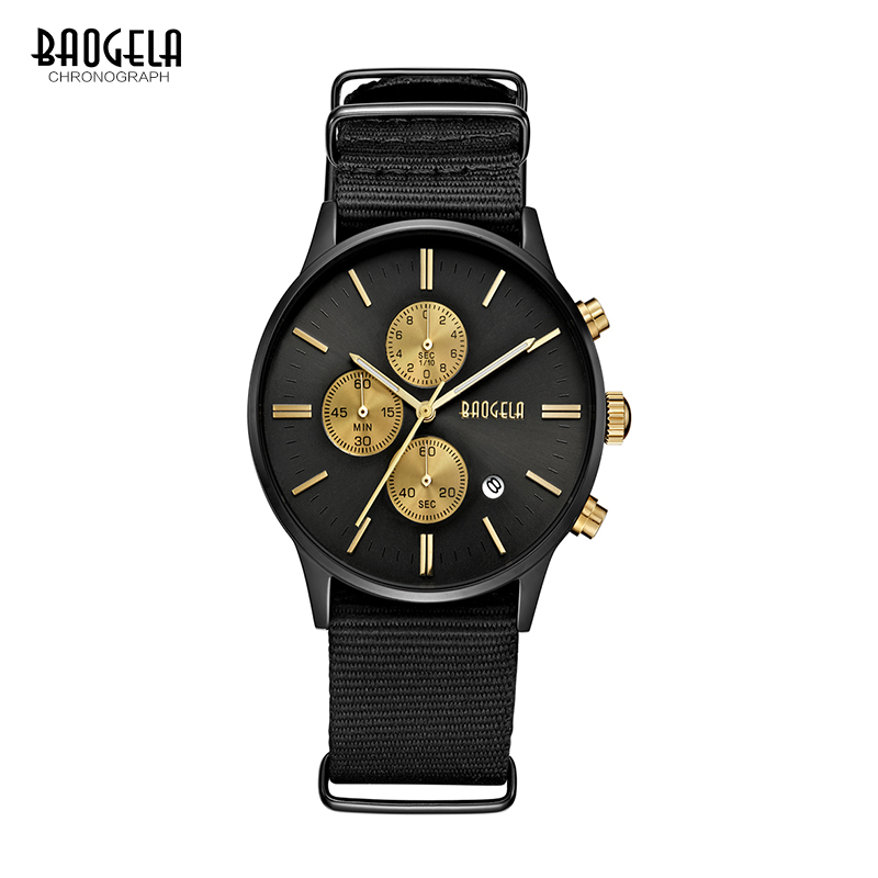BAOGELA Chronograph Men Watches Sport Quartz Watches Canvas Military Watch For Men Male Wristwatches Relogio genuine jedir quartz male watches genuine leather watches racing men students game run chronograph watch male glow hands