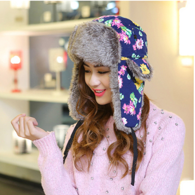 HT543 NEW HOT Winter Russian Fur Hats for Women Female Bomber Hats Caps  Flower Floral Printed Pattern Trapper Hats Ushanka Caps 358d38e92c0