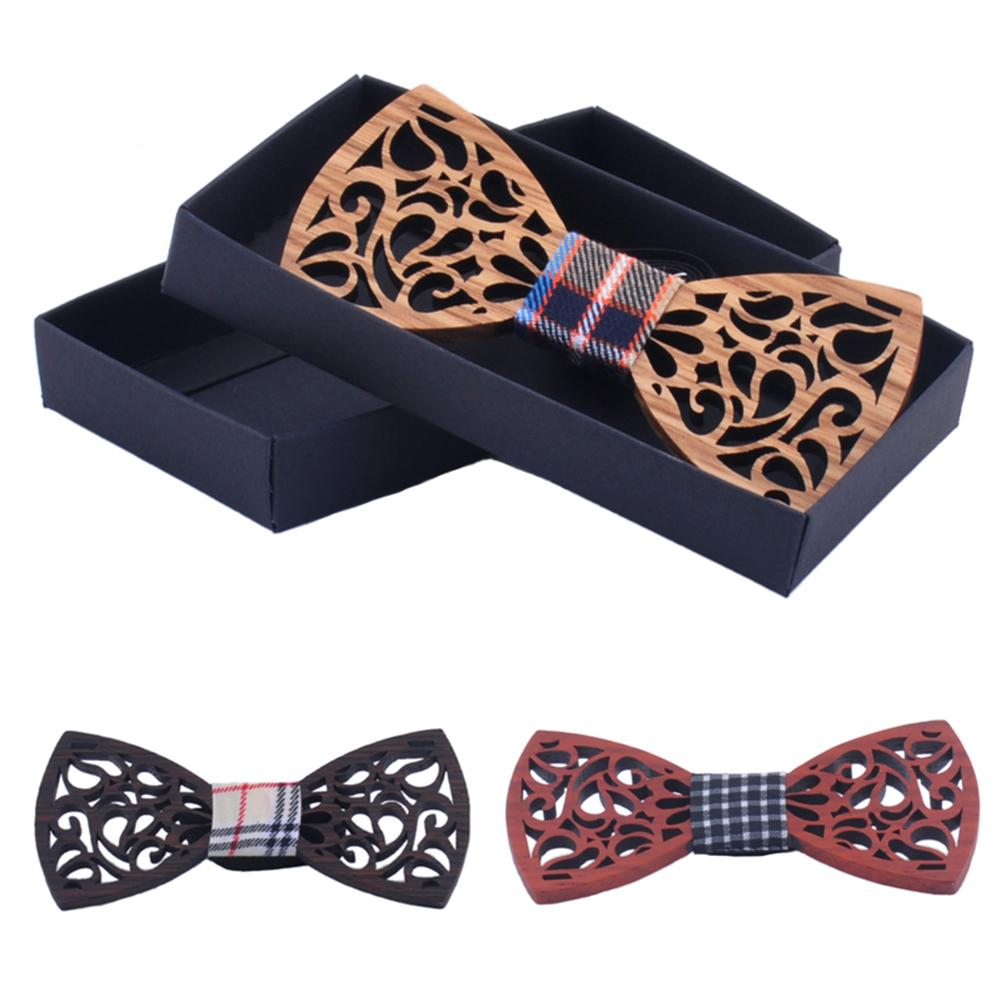 Natural Wooden Hollow-Out Bow Tie Handmade Vintage Wood Bow Ties for Men Women
