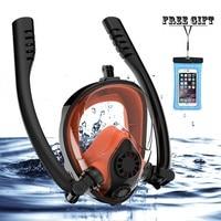 Double Breath Tube Snorkel Mask Full Face Anti Fog Anti Leak Swimming Snorkeling Mask Adults Diving Scuba Mask Diving Equipment