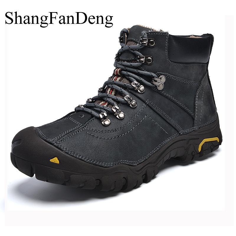 Shangfandeng Super Warm Winter Men Boots Genuine Leather Boots Men Winter Shoes Men Military Fur Boots Men Shoes Zapatos Hombre