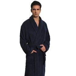 Invierno Albornoz de hombre de algodón espesar de talla grande XL bastante cálido largo suave de los hombres bata camisón manta Toalla de hotel Bata