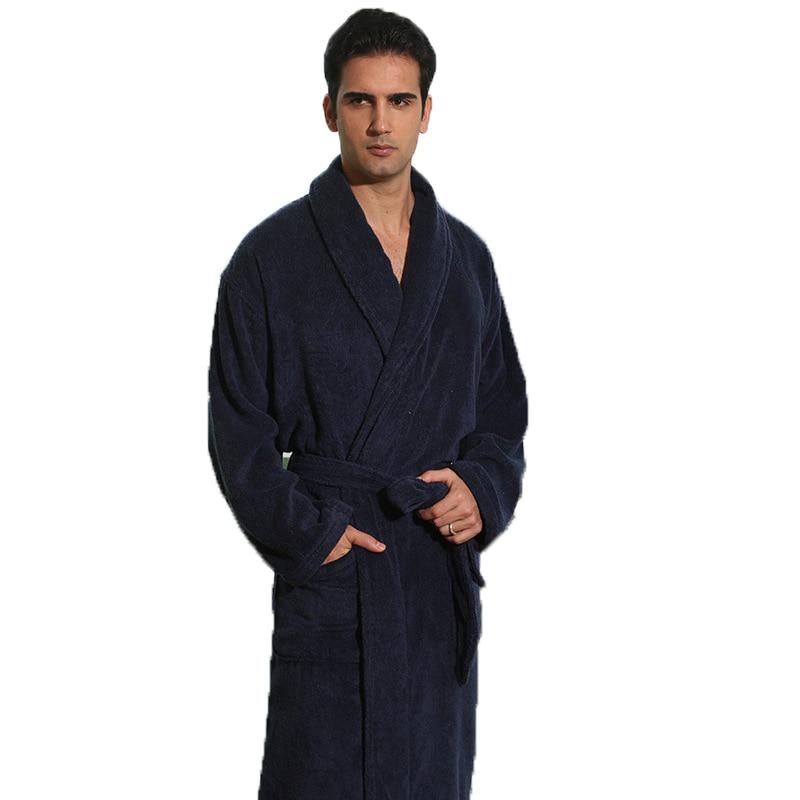 Winter Men Bathrobe Cotton Thicken Plus Size XL Pretty Warm Long Soft Men's Robe Nightgown Blanket Towel Fleece Home Hotel Robe