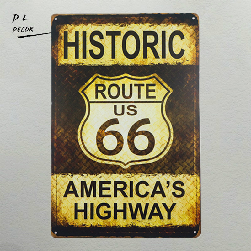 DL- Man cave house metal sign HISTORIC ROUTE 66 WHOLESALE METAL NOVELTY PARKING SIGN
