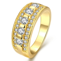 3 Rows Clear Cubic Zircon 18k Yellow Gold Filled Womens Ring Size 7